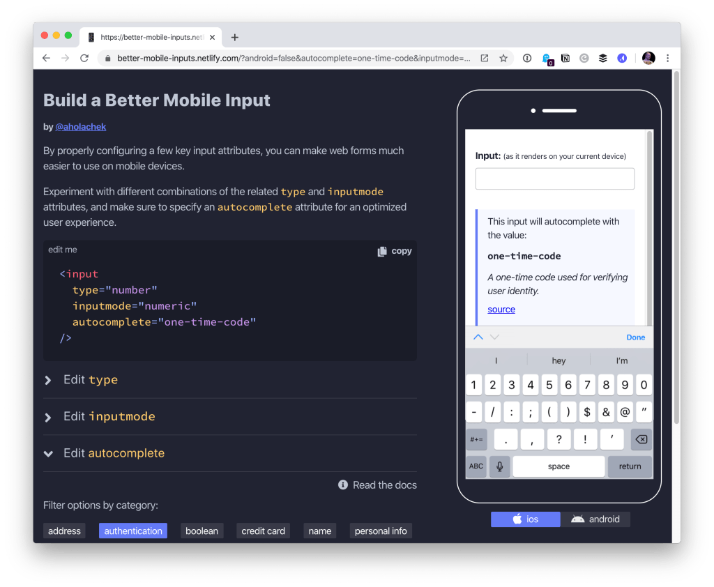 Better Form Inputs for Better Mobile User Experiences