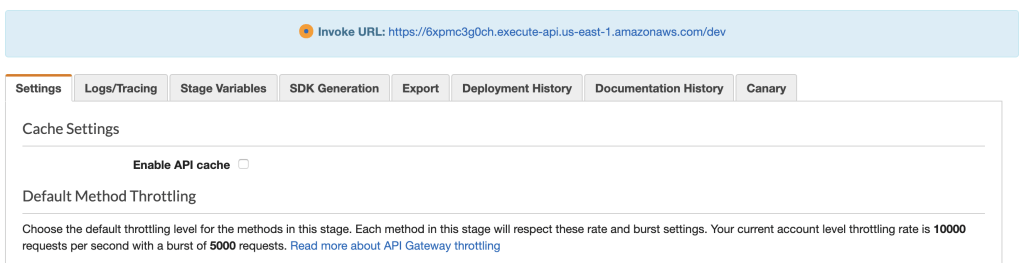 The AWS console showing the Settings tab which includes Cache Settings. Above that is a blue notice that contains the invoke URL.