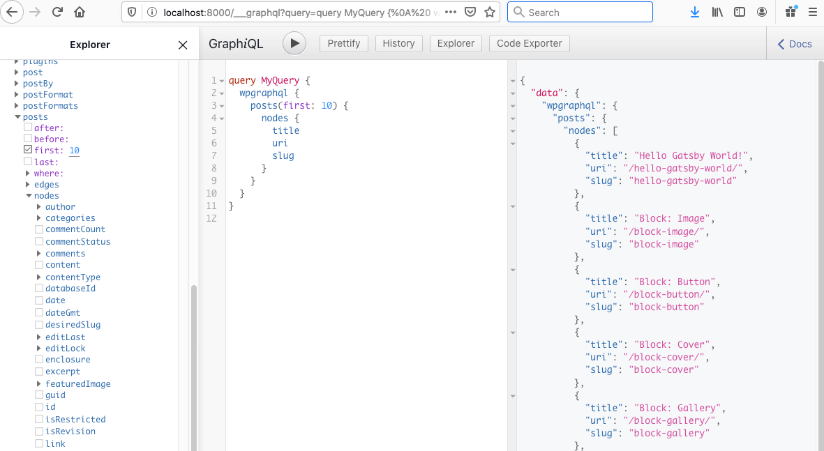 Screenshot showing the GraphQL query interface with the explorer on the left, the query in the center, and the returned data on the right.