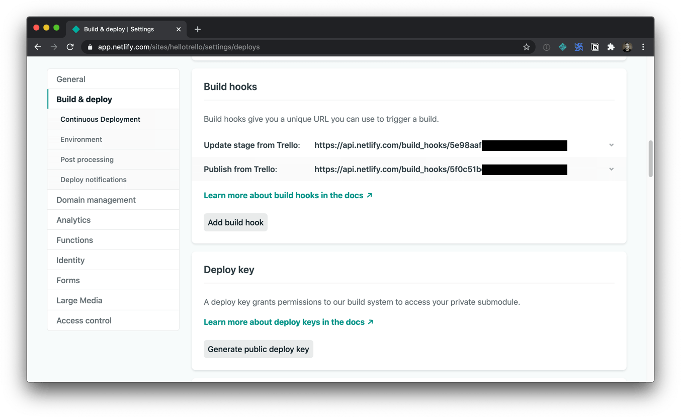 Screenshot of the netlify build hooks screen with options to add a build hook and generate a public deploy key.