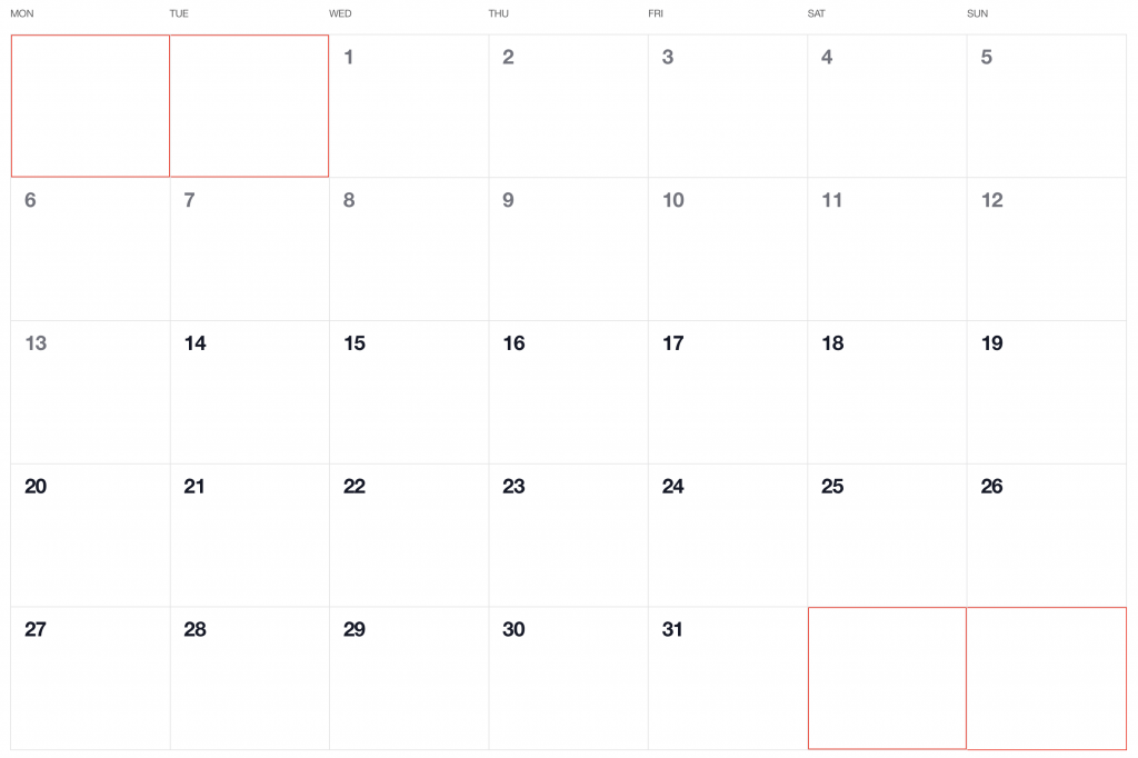 Calendar grid showing the first two and last two days highlighted in red, indicated they are coming from the previous and next months.
