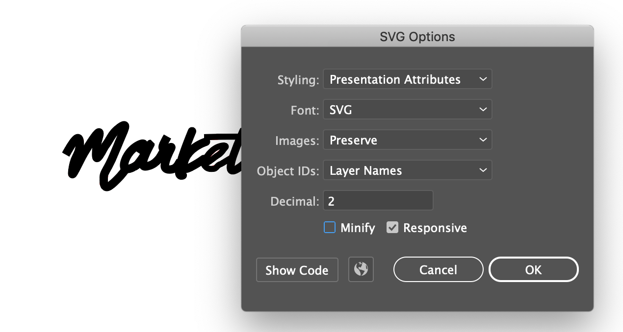 Showing the SVG export options in Illustrator.