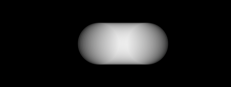 Thirty-two overlapping white opaque circles on a black background.
