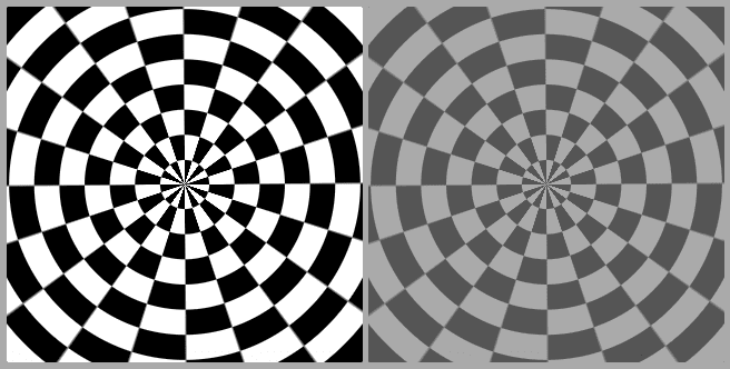 Screenshot collage. On the left, we have the expected black and white result, something like a XOR between the radial gradient generated ripples and the conic gradient generated rays — this is what we get in Chrome. On the right, we have the same result blended with the lightish grey background — this is what we get in Firefox and Safari.