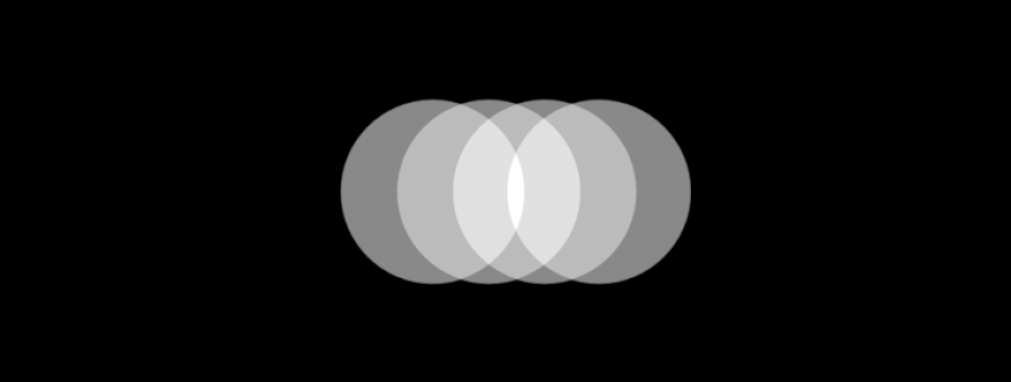 Four overlapping white opaque circles on a black background.