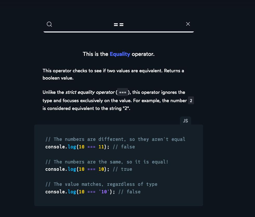 JavaScript Operator Lookup   CSS Tricks