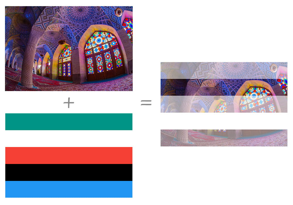 Left column is Image of at the inside of a brightly colored cathedral with stained glass, above an image that contains 5 solid horizontal stripes including green, white, red, black and blue. Right column is the result of combining the two images where the cathedral is displayed with varying transparency as a result of being combined with the different colored striped.