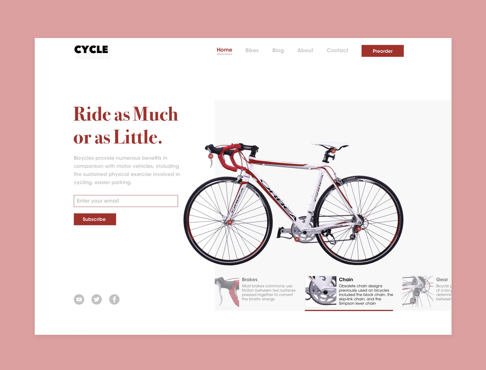 "Screenshot of a webpage with a light pink background with a white box that contains the site content with a headline that reads ""Ride as Much or as Little"" in red, an email subscription form, and a large image of a red and white bicycle to the right."