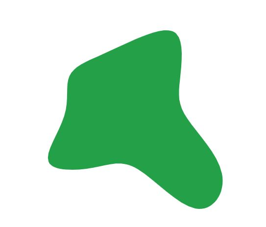 A green blob with four edges that vary in size and shape.