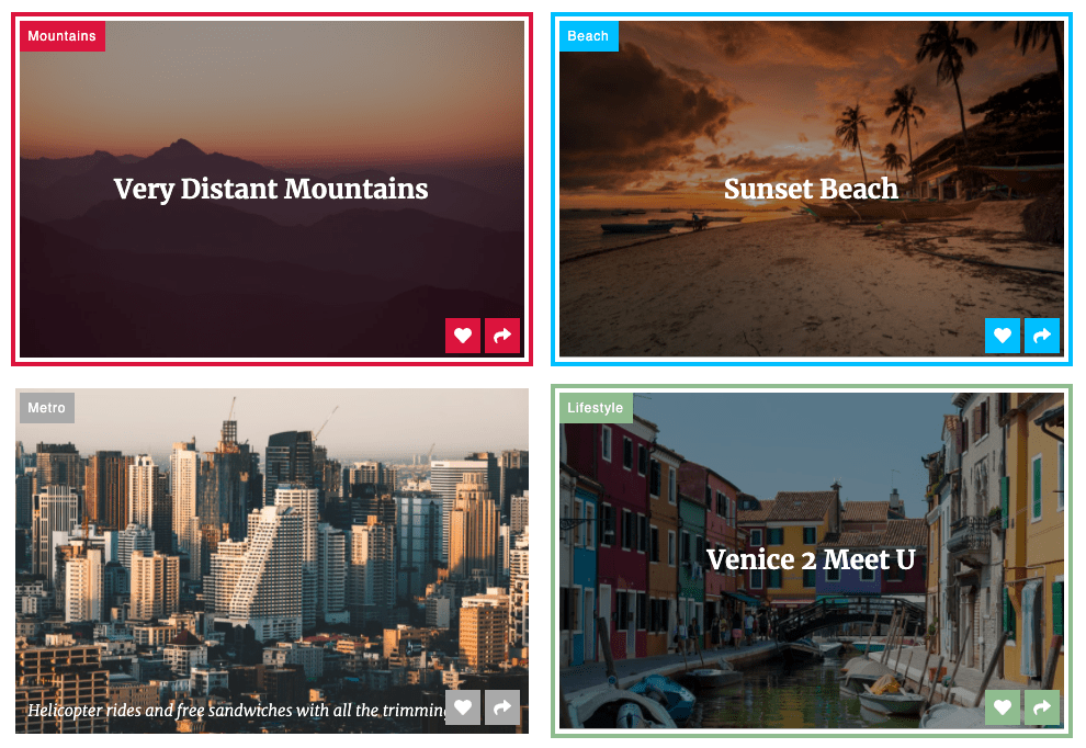 A two by two grid of images with text overlaid on top, as well as a tag label in the top right corner and, tagline in the bottom left corner and actions to like and share in the bottom right corner of each one.