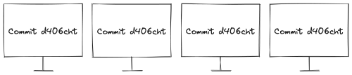 """Four computers all equally labeled """"Commit d406cht"""""""