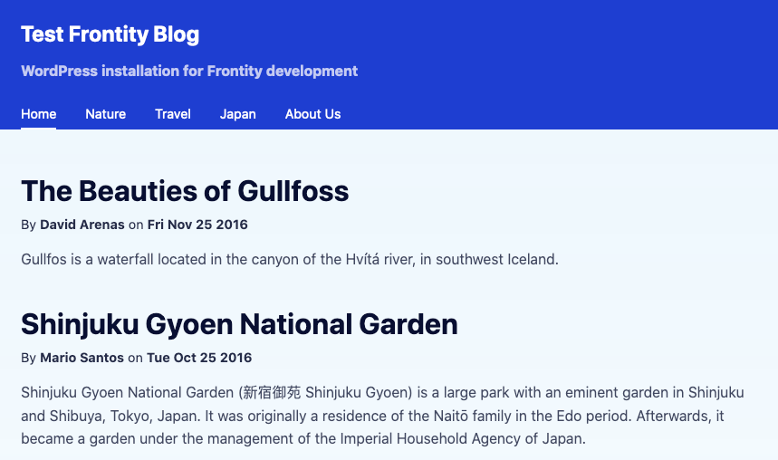 Screenshot showing installed Frontity front-end app with frontity mars-theme, including a large blue header that holds the site title and description in white, then a tabbed navigation, followed by body content against a light gray background.
