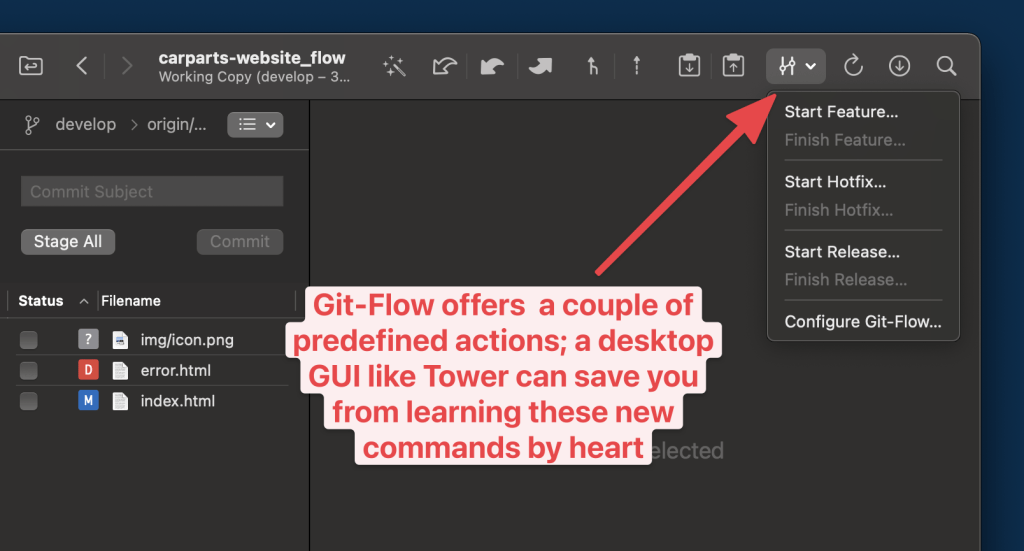 Git Flow offers a couple of predefined actions: a desktop GUI like Tower can save you from learning these new commands by heart.