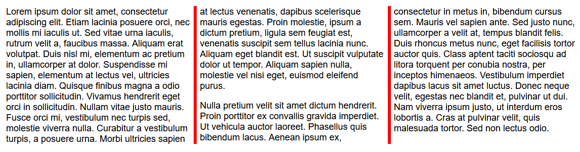 The same three columns of plain text, but with a red border between the columns.