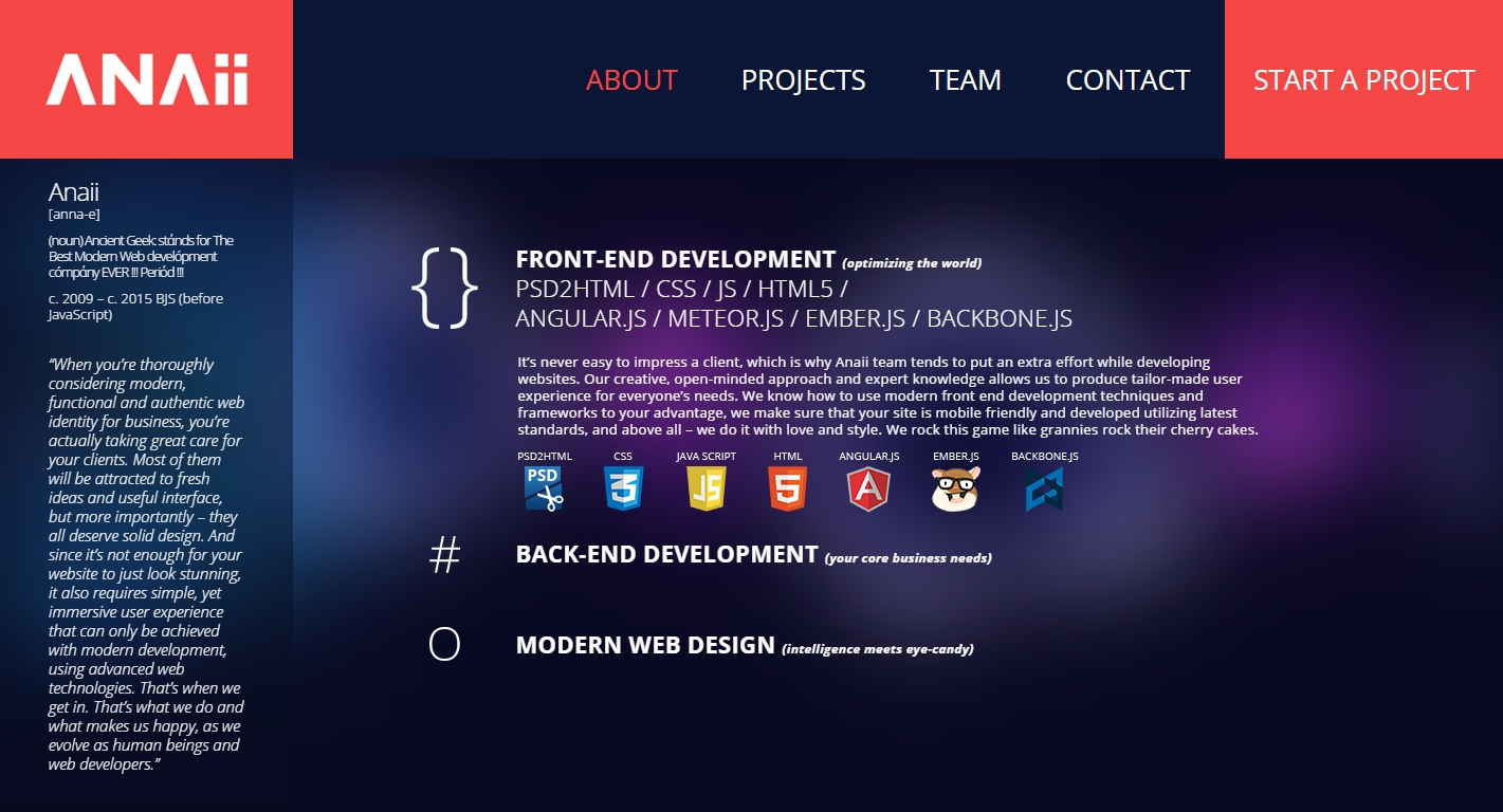 Modern website design and development by Anaii
