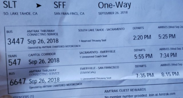 Chris's ticket Lake Tahoe to SF