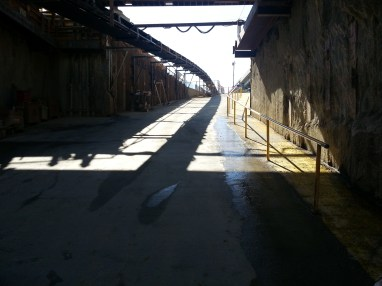 Bottom of the entry ramp looking out.