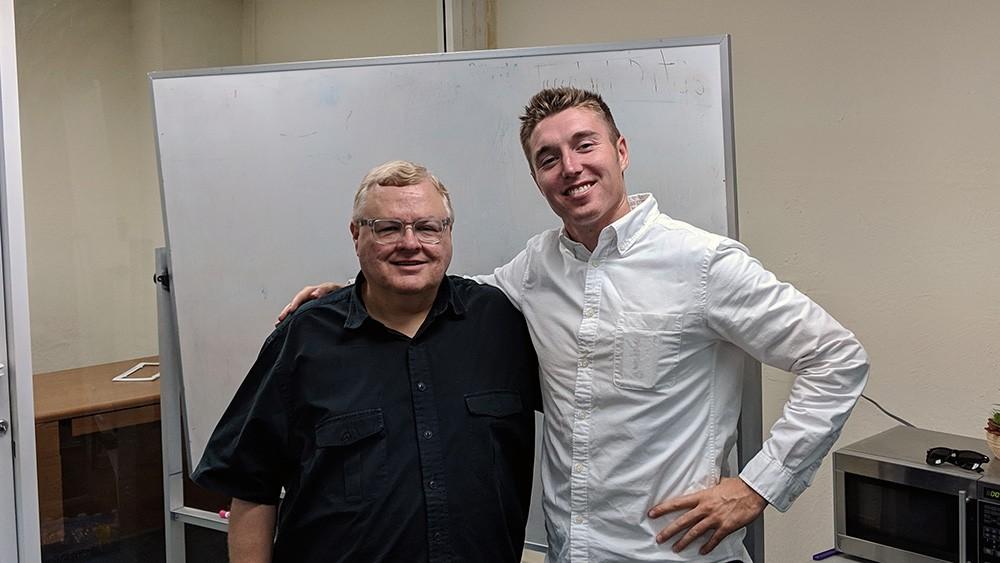 John Barton and CSUF Entrepreneurship Director John Bradley Jackson at the CSUF Startup Incubator