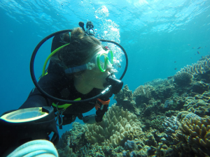 CSUN biology graduate alumnus Jessica Bergman, studying the corals in Okinawa, Japan. Photo Credit: Jessica Bergman