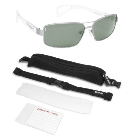 Zoinx Men Wrap Polarize Sunglasses Silver Aviator-Green Lens