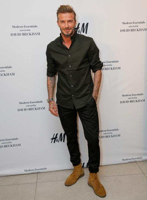 LOS ANGELES, CA - SEPTEMBER 26:  David Beckham attends the launch of David Beckham's H&M Modern Essentials Collection on September 26, 2016 in H&M at FIGat7th in Los Angeles, California.  (Photo by Rachel Murray/Getty Images for H&M)