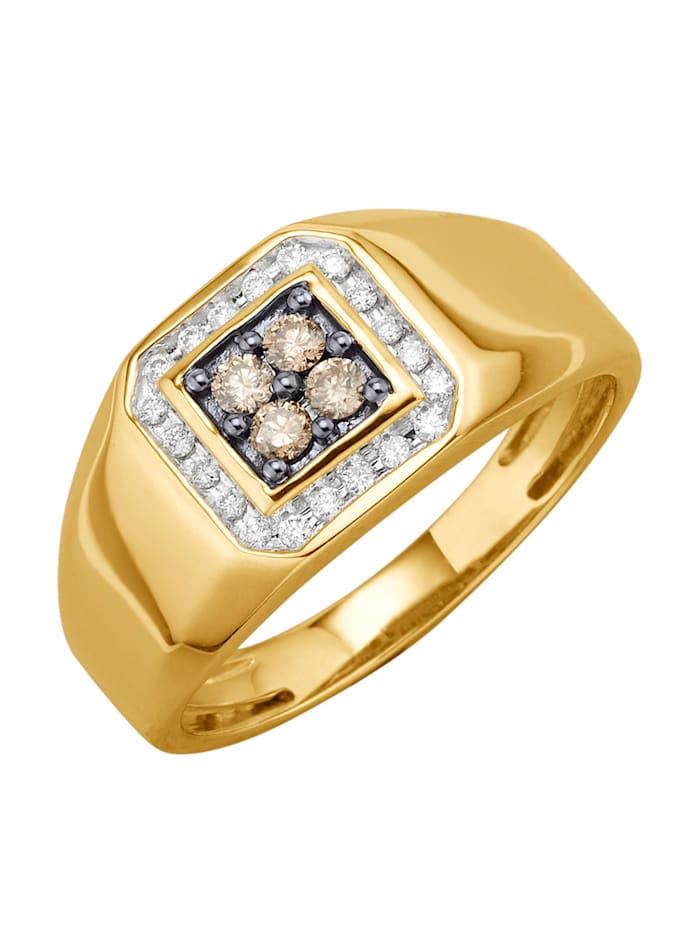 Herrenring mit Brillanten Diemer Diamant Gelbgoldfarben
