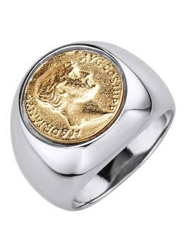 Herrenring mit Münze Diemer Gold Silberfarben