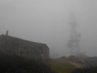 My antenna farm, Chapel of S. João Batista and repeater tower in the mist