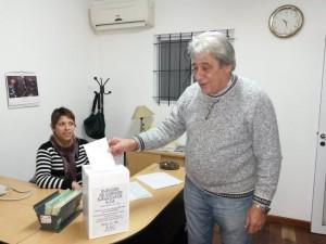 Jorge Ravetti, candidato a Secretario General de la Lista 1, en Ezeiza.
