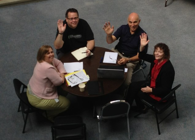 Clockwise: Maureen Avery, Testing Lead; Andy Duckwort, TCC; Dick Hol, CCS and Kathy Disney, Security Lead discussed details of setting up security and roles in the training environment in preparation for User Acceptance Testing.