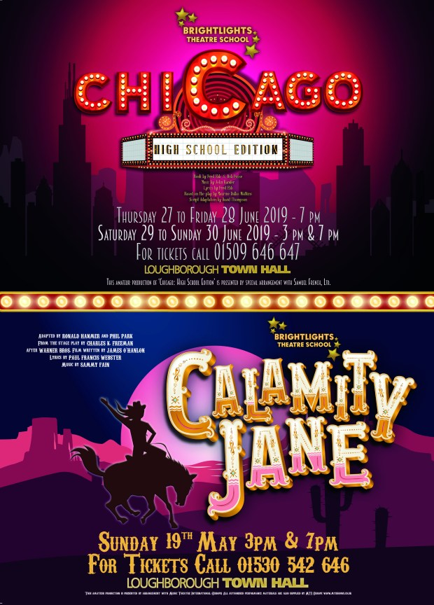 Poster for upcoming productions by Bright Lights Theatre School.
