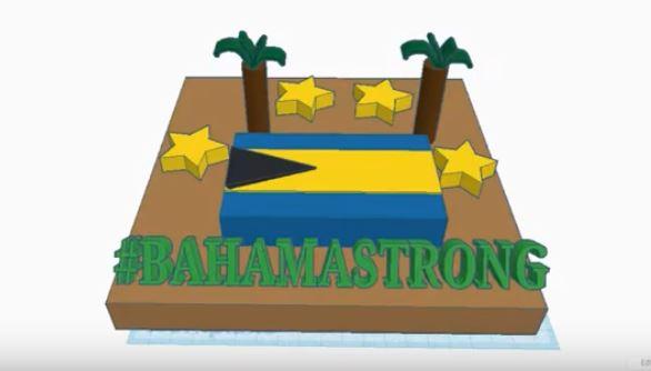 artwork with Bahamas flag, text Bahamastrong