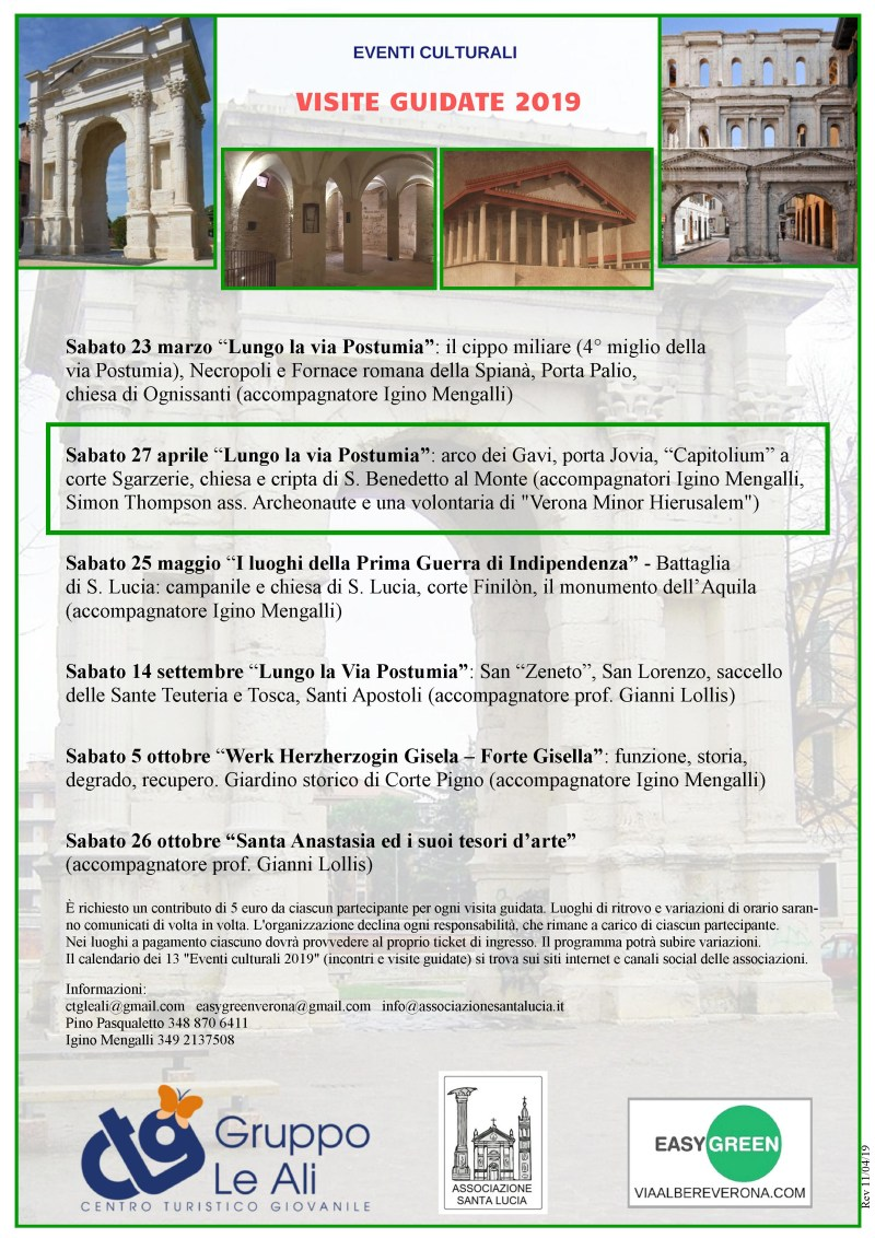 Visite guidate 2019 via Postumia Verona