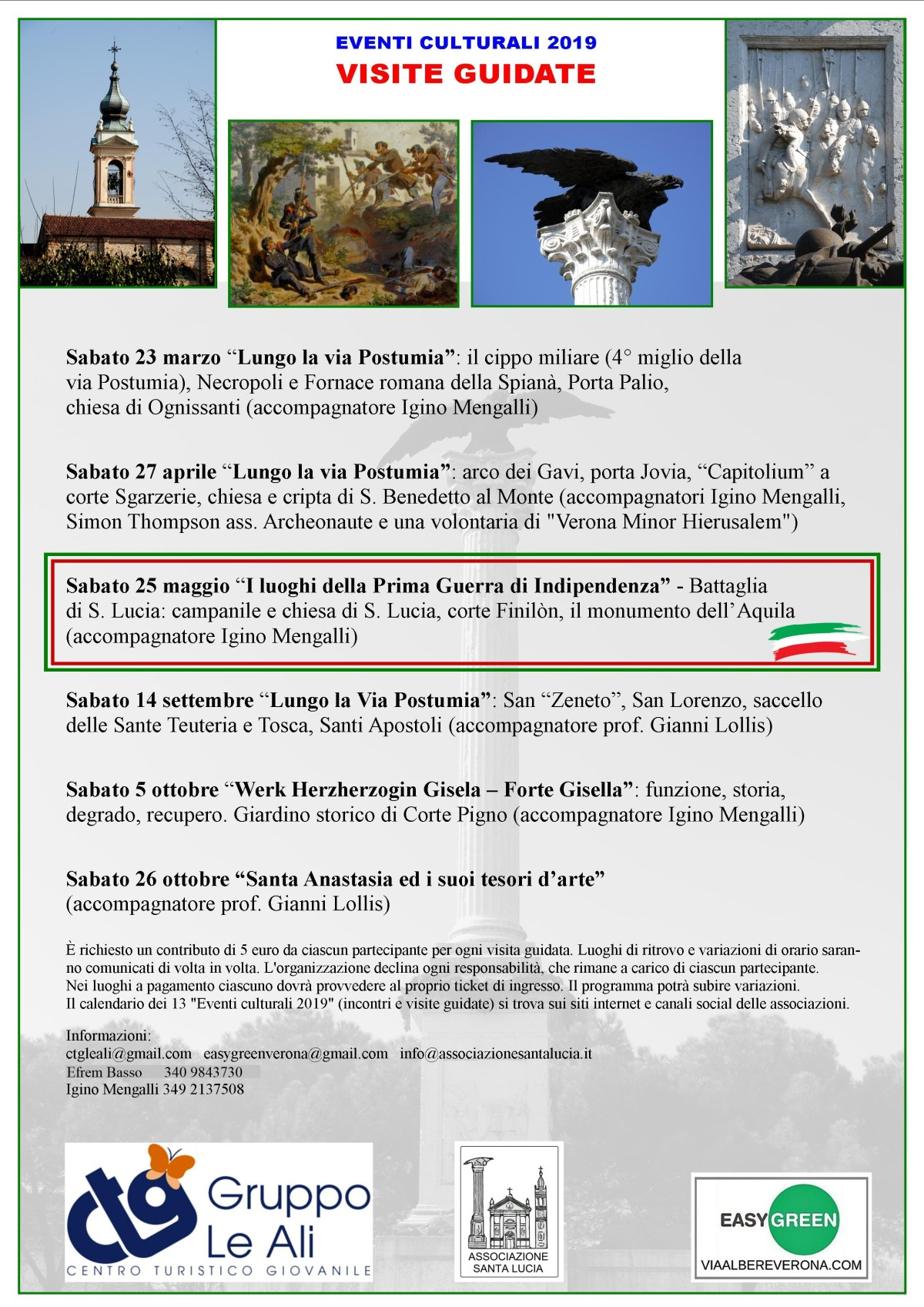 Visita guidata: I luoghi della Prima Guerra di Indipendenza a Verona – Battaglia di Santa Lucia Sabato 25 maggio 2019