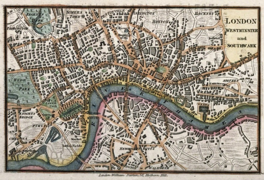 Old Maps of London  Middlesex and Essex circa 1820   Map of London England circa 1820 by William Darton Publishing