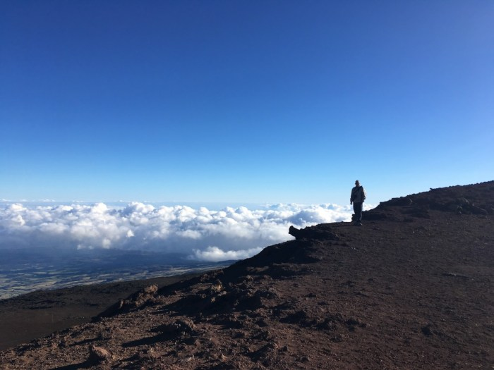 """Pindakaas op de Haleakala vulkaan. """"Tadaa!!"""" Triomfantelijk steekt Eric een mes in de lucht. """"Heb ik gejat van Pamela."""" """"Doe normaal. Ze wordt helemaal gek als ze daar achter komt."""" Maar volgens Eric heeft ze er meer dan genoeg en wij hebben hem nodig voor ons ontbijt op de Haleakala vulkaan. Broodjes pindakaas. Dat eten wij ook overal ter wereld! We zijn er om kwart over zes. Veel te laat natuurlijk. We hadden er vannacht om kwart over vier moeten zijn, voor de spectaculaire zonsopkomst. We balen er ongelofelijk van. Maar we hadden vooraf een plekje moeten reserveren. Tja, wisten wij veel. Pamela wist dat natuurlijk wel. """"Didn't I inform you?"""" Waarschijnlijk wel, maar jij stuurde ons zo veel informatie dat ik het niet allemaal heb gelezen! Ze heeft nog een poging gedaan om telefonisch een reservering te maken. Ze is misschien streng, maar toch ook heel vriendelijk. Geen schijn van kans, een dag van te voren. We nemen ons verlies en maken er het beste van. Natuurlijk is nu ook om 7 uur nog heel mooi. We lopen via de Slidings Sands Trail een stukje de krater in. De dikke, witte wolken blijven aan de rand hangen. We kijken er op neer. Het lijken wel watten. Prachtig zijn ook alle kleuren in de aarde: zwart, grijs, groen, rood, oranje. Jammer dat de zon zo fel schijnt. Het is moeilijk foto's maken. De wandeling terug naar boven is behoorlijk bikkelen. We zitten op 3.000 meter hoogte en dat beneemt me de adem. Eric loopt voor mij uit en ik probeer hem maar niet bij te houden. Eindelijk snorkelen! Na onze pittige ochtendwandeling gaan we naar het cowboydorp Makawao. Morgen is er een festival en een parade. Maar wij zijn echt toe aan een dagje relaxen. We nemen een koffie bij een foodtruck van een cowboygirl en gaan naar het zuiden van Maui voor ons eerste snorkelavontuur. Op Turtle Beach zien we vanaf de kust schildpadden naar water happen. De zee is echter troebel en de golven zijn te hoog om lekker te kunnen snorkelen. We proberen het nog een keer bij het Ahihi-Kinau R"""