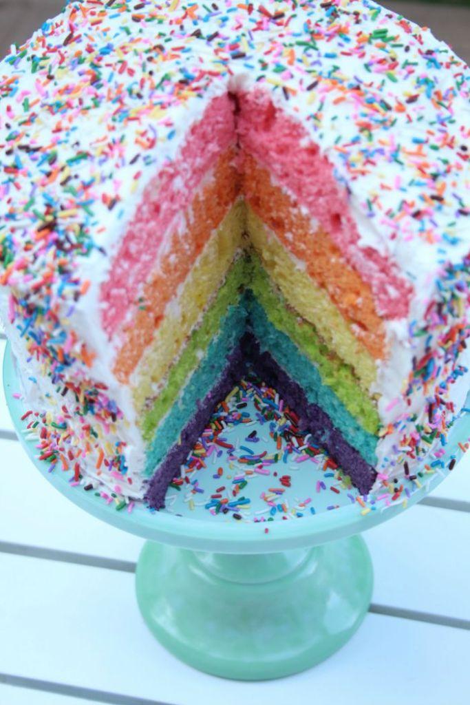 Rainbow Cake on Stand
