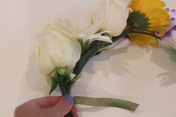 Attaching flowers
