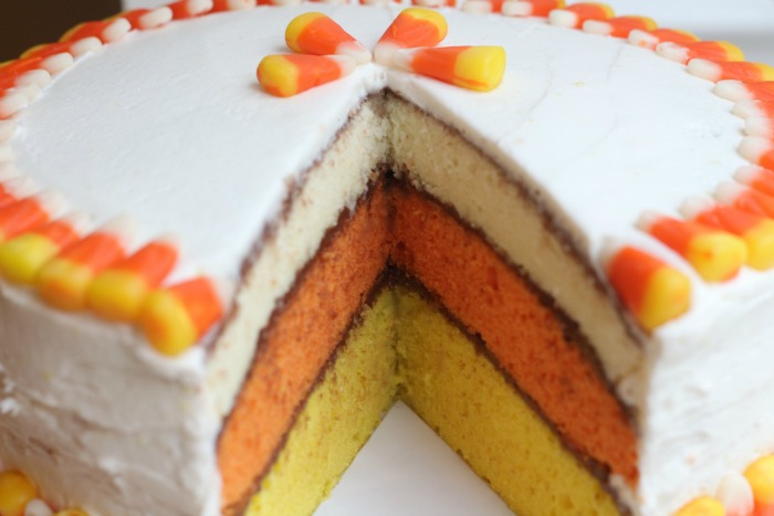 Candy Corn Cake layers