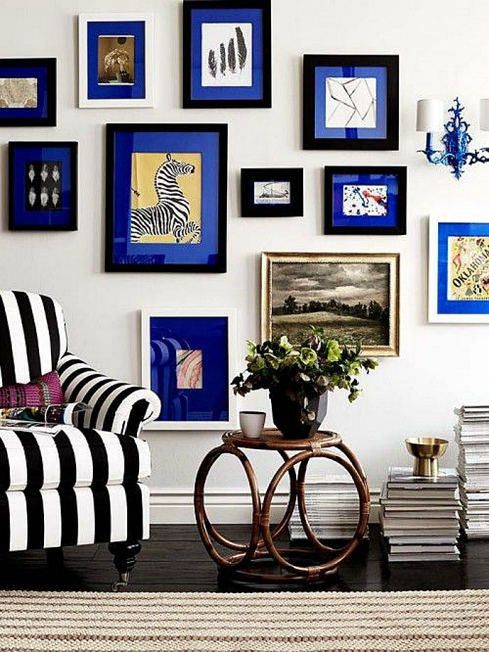 Blue Gallery Wall