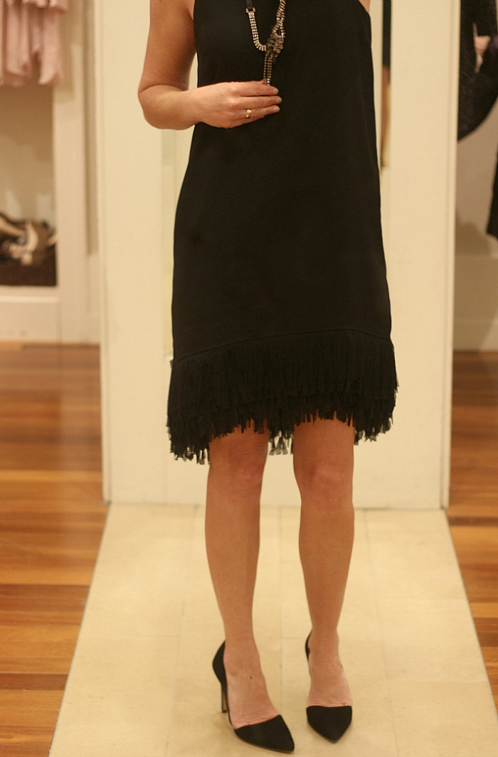 Black Fringe Bottom Dress