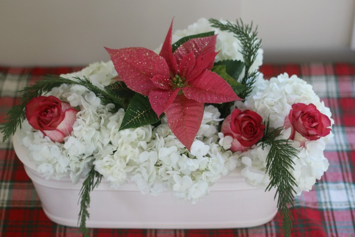 Easy Christmas Centerpiece with Store Bought Flowers
