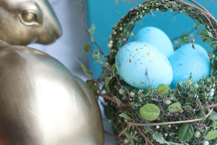 Gold Speckled Easter Eggs with bunny head
