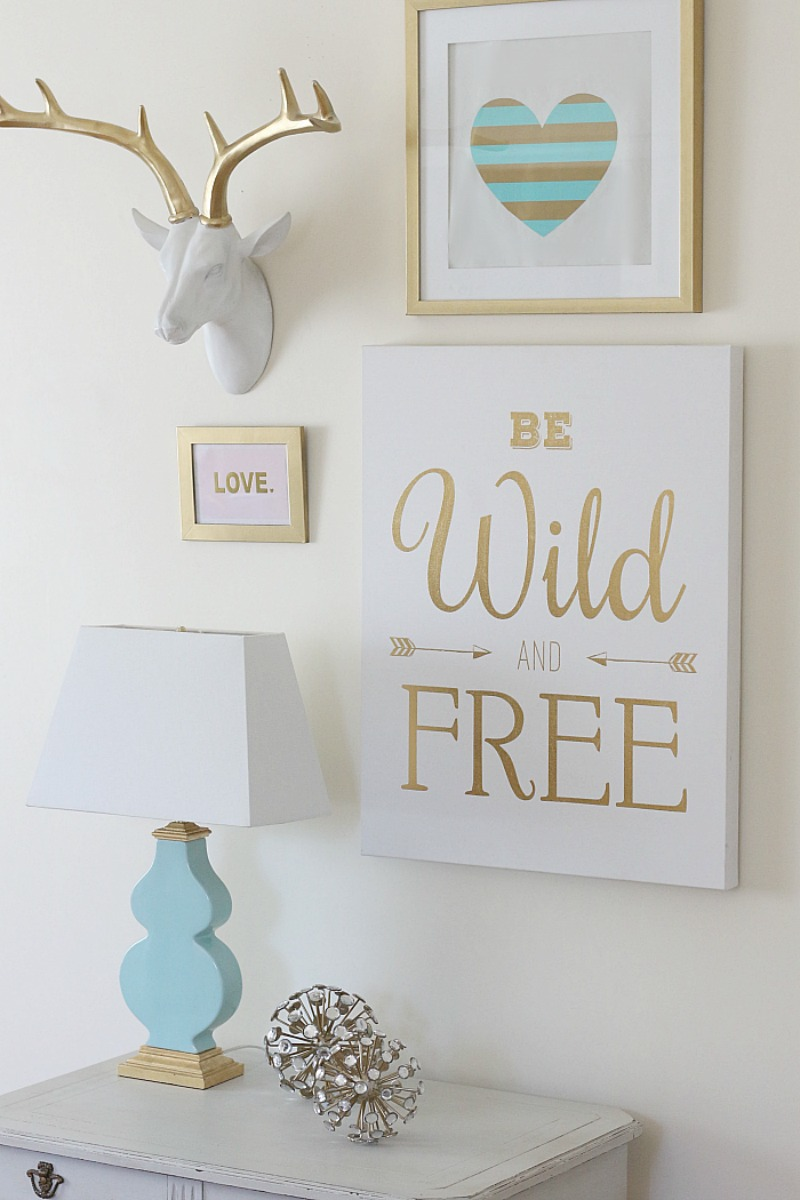 Gold White and Aqua Gallery Wall