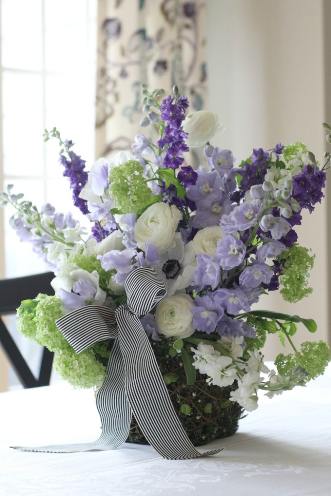 Purple Sweet Pea, Ranunculus and Anemone flower bouquet