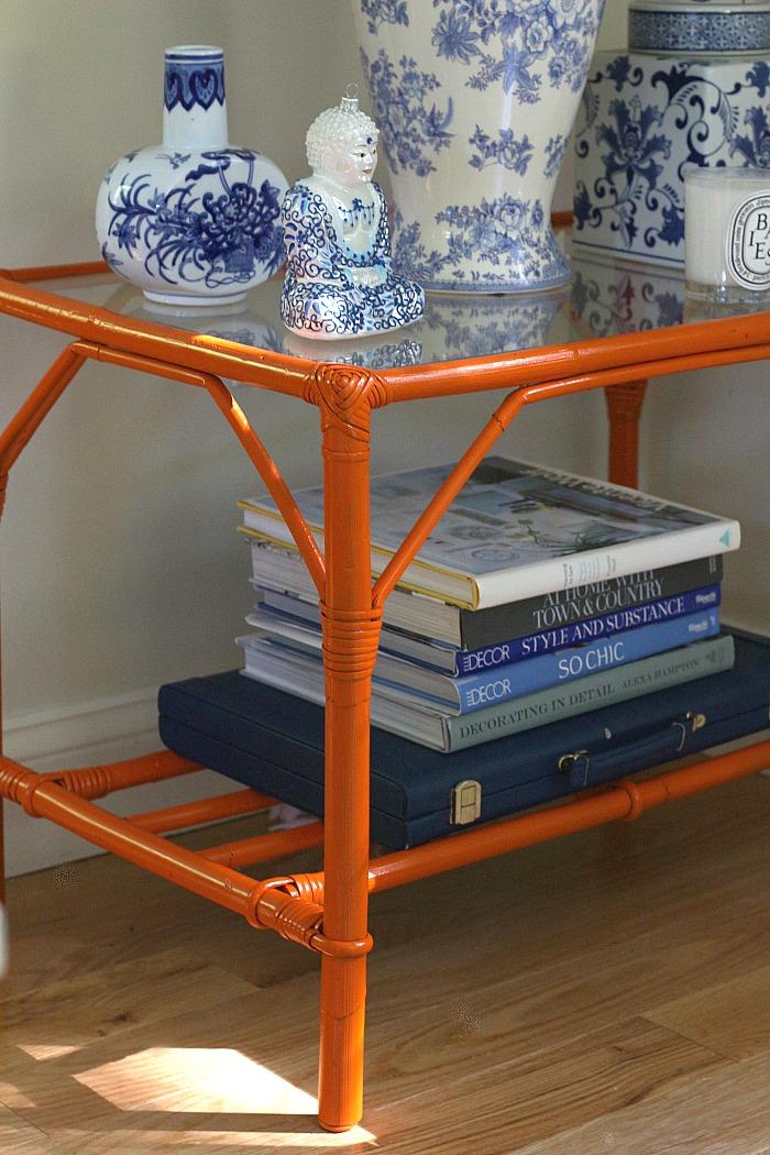 Orange bamboo table