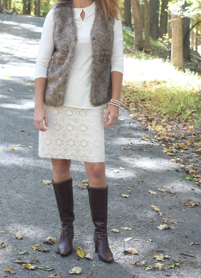 fur-vest-and-lace-overlay-skirt