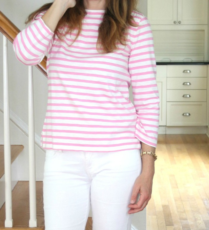 Classic Pink and White Striped T-Shirt