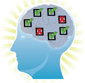 an image of a student's brain depicting his understanding of course materials using green check marks and red x's as visual cues