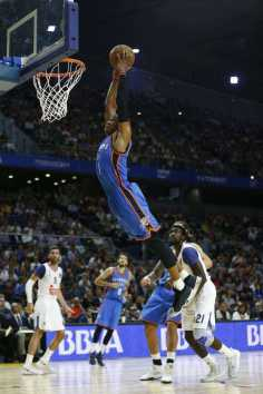Oklahoma City Thunder guard Russell Westbrook jumps to dunk during a NBA Global Games basketball match between Real Madrid and Oklahoma City Thunder in Madrid, Spain Monday Oct. 3, 2016. (AP Photo/Daniel Ochoa de Olza)